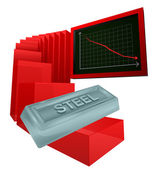 Negative business graph of steel goods vector — Stock Vector