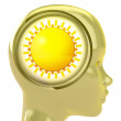 Stock Photo: Yellow humhead with brain cloud with shiny sun inside