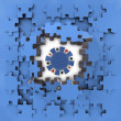 Blue puzzle jigsaw with poker chip revelation — Stock Photo