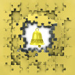 Yellow puzzle jigsaw with golden bell revelation — Stock Photo