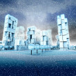 Icy skyscraper city at winter snowfall — Стоковая фотография