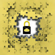Yellow puzzle jigsaw with security padlock idea revelation — Stock Photo