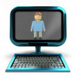 Blue computer with happy man on screen concept isolated — Stock Photo