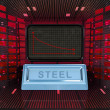 Stock Photo: Business decrease or negative results of steel merchandise