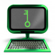 Stock Photo: Green computer with key to knowledge on screen concept isolated