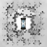 Grey puzzle jigsaw with sand glass time revelation — Stock Photo #33601301