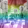 Stock Photo: Modern business city horizontally rainbow colored