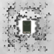 Grey puzzle jigsaw with smart phone revelation — Stock Photo #33601661
