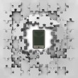 Grey puzzle jigsaw with smart phone revelation — Stock Photo