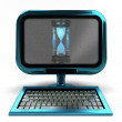 Blue metallic computer with sand glass on screen concept isolated — Стоковая фотография