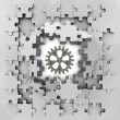 Grey puzzle jigsaw with industrial cogwheel revelation — Stock Photo
