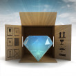 Luxurious diamond product safety delivery with sky flare — Stock Photo #33602183