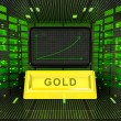 Stock Photo: Business positive graph forecast or results of gold commodity