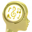 Yellow human head with brain cloud with golden music inside — Stock Photo