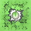 Stock Photo: Green puzzle jigsaw with stopwatch revelation