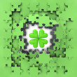 Stock Photo: Green puzzle jigsaw with cloverleaf lucky revelation