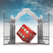 Stock Photo: Divine dice luck in heavenly gate with sky flare