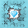 Blue puzzle jigsaw with pure diamond revelation — 图库照片