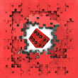 Red puzzle jigsaw with lucky dice revelation — Stock Photo
