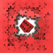 Stock Photo: Red puzzle jigsaw with lucky dice revelation