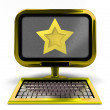 Foto Stock: Golden metallic computer top star rated concept isolated