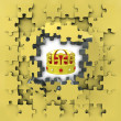 Yellow puzzle jigsaw with royal crown iderevelation — стоковое фото #33603213
