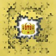 Yellow puzzle jigsaw with royal crown iderevelation — Stockfoto #33603213