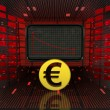 Stock Photo: Business decrease or negative results of Euro currency