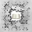 Stock Photo: Grey puzzle jigsaw with education book revelation