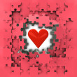 Stock Photo: Red puzzle jigsaw with heart love revelation