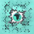 Stock Photo: Blue puzzle jigsaw with Africglobe revelation