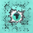 Blue puzzle jigsaw with Africa globe revelation — Stock Photo