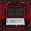 Stock Photo: Business decrease or negative results of silver merchandise