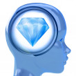 Blue human head with brain cloud with pure diamond inside — Photo