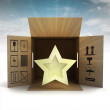 Golden holiday star product delivery with sky flare — Stock Photo