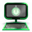 Green metallic computer with stopwatch on screen concept isolated — Stock Photo