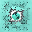 Blue puzzle jigsaw with Asia globe revelation — Stock Photo #33604463