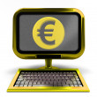 Golden computer with Euro coin on screen concept isolated — Stock Photo