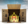 Golden royal crown product delivery with sky flare — Stock Photo