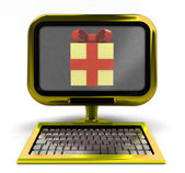 Golden metallic computer with gift surprise on screen concept isolated — Stock Photo