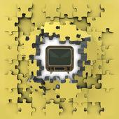 Yellow puzzle jigsaw with tv fun idea revelation — Stock Photo