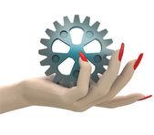 Isolated cogwheel part in women hand render — Stock Photo
