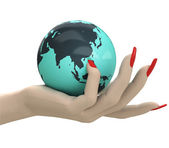 Isolated globe with Asia in women hand render — Stock Photo
