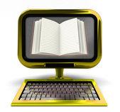 Zlatý počítač s otevřenou knihou na obrazovky koncepce izolovaných — Stock fotografie