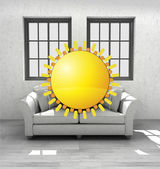 Enjoy sunrise in your confortable modern interior design render — Stock Photo