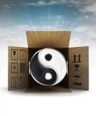 Yin and yang harmony in package delivery with sky flare — Stock Photo