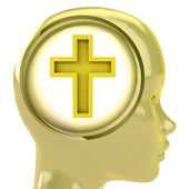 Yellow human head with brain cloud with golden cross inside — Stock Photo
