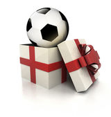 Mysterious magic gift with football ball inside render — Stock Photo