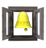 Isolated welcome bell ring for your new wooden window — Stock Photo