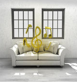 Listen music in your confortable interior design render — Stock Photo